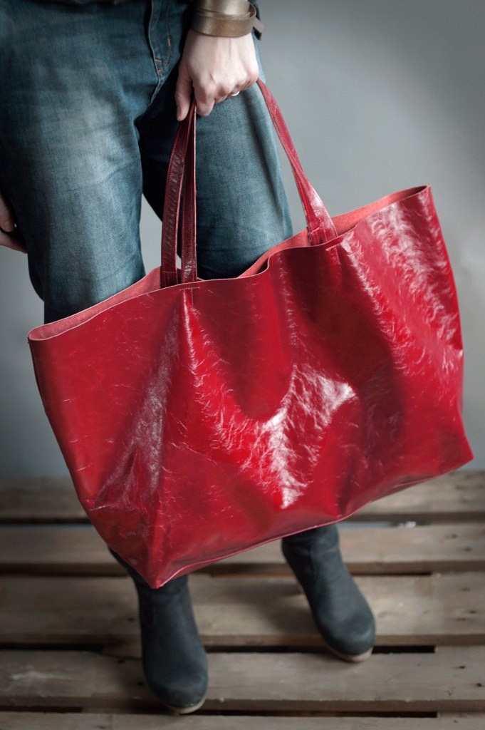 Red Oversized Tote Bag, every day tote bag. $170.00, via Etsy.