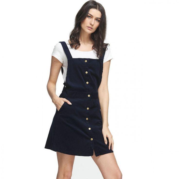 Fashion 20176 Women overalls Elegant Blue Corduroy Button Pocket Mini A-Line Strap Skirt Vintage Casual Brand Female