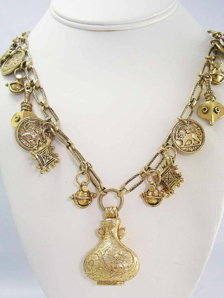 Mid Century Egyptian Revival Golden Drippy Coin Charm & Flask Necklace ~Vintage