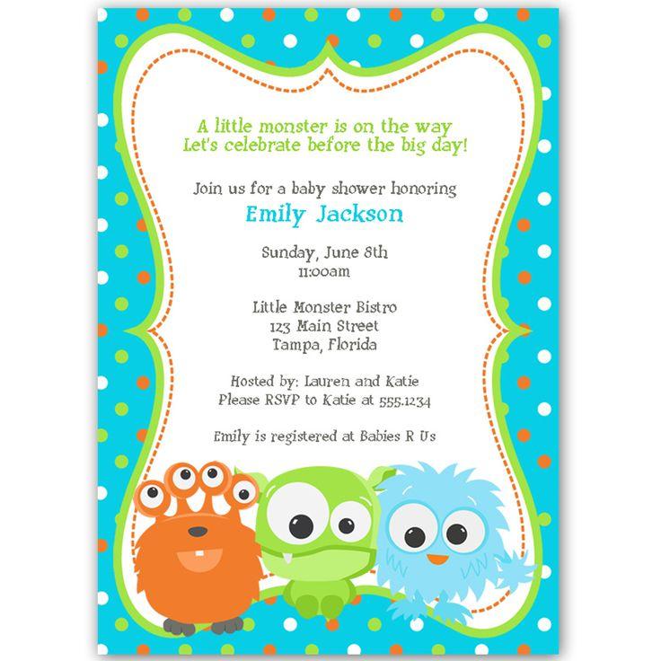 35 best Baby Shower - Monsters images on Pinterest | Birthdays ...