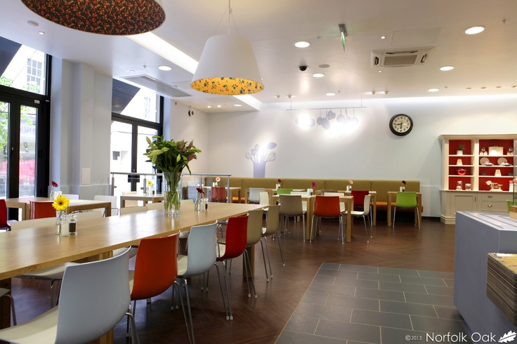 Here is a photograph of our worktops in M&S, Bath. http://www.norfolkoak.com/commercial-joinery/