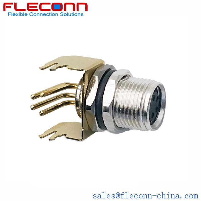 M8 Female Panel Mount Connector 90 Degree 3 4 5 6 Positions Available Connector Mounting Paneling