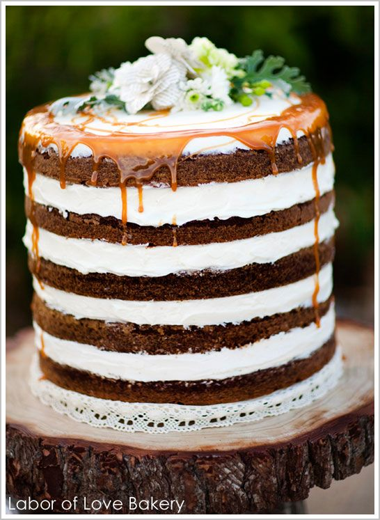 rustic wedding cake, unfrosted sides