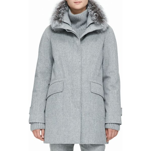 Loro Piana Cashmere Melange Storm Coat with Fox Fur Trim ($6,495) ❤ liked on Polyvore featuring outerwear, coats, grey, sports coat, grey sport coat, grey sports coat, sport coat and gray sports coat