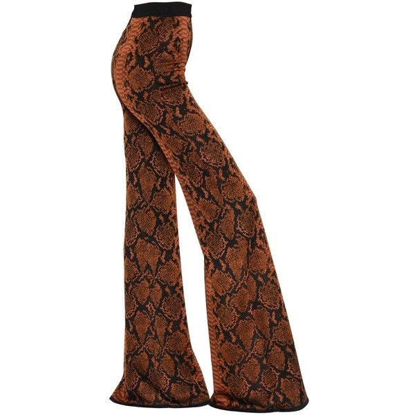 Balmain Women Flared Python Jacquard Knit Pants (17 030 ZAR) ❤ liked on Polyvore featuring pants, brown, elastic waist knit pants, high waisted trousers, knit pants, flared pants and high-waisted pants