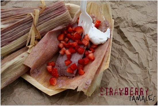 Tamal de Fresa (Strawberry Tamales) (MASA INGREDIENTS:  strawberries, vanilla, salt, butter, shortening, sugar, baking powder, masa harina and milk).  Recipe on website....,