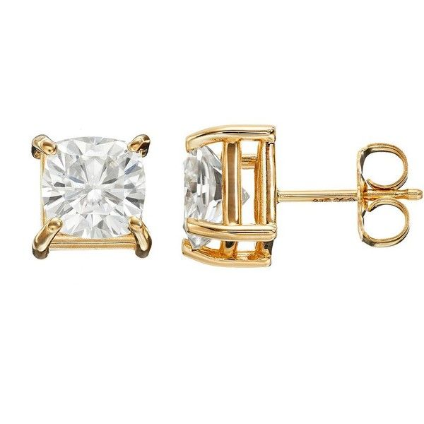 Forever Brilliant 2 5/8 Carat T.W. Lab-Created Moissanite 14k Gold... found on Polyvore featuring jewelry, earrings, accessories, white, 14k gold earrings, yellow gold jewelry, white jewelry, 14 karat white gold earrings and earring jewelry