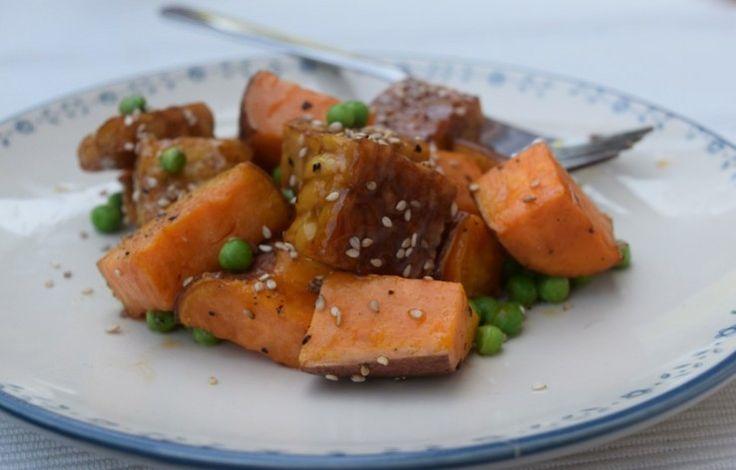 Teriyaki tempeh & zoete aardappel, sweet potatoe,  simpel recept, recept, recipe, simple recipe, foodblog, foodpic, foodpics, eetfoto's, mooie eetfoto's, foodporn, healthy, food, voedsel.