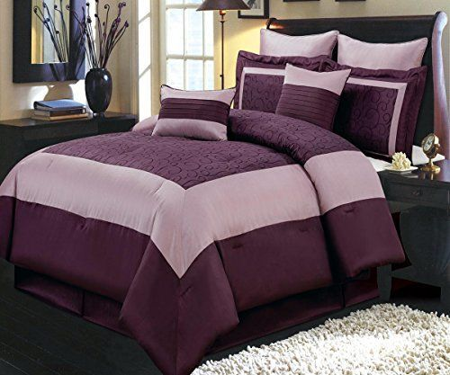 Modern  Color Block Purple Bedding Comforter and Shams Set with Sheets and Decorative Pillows.