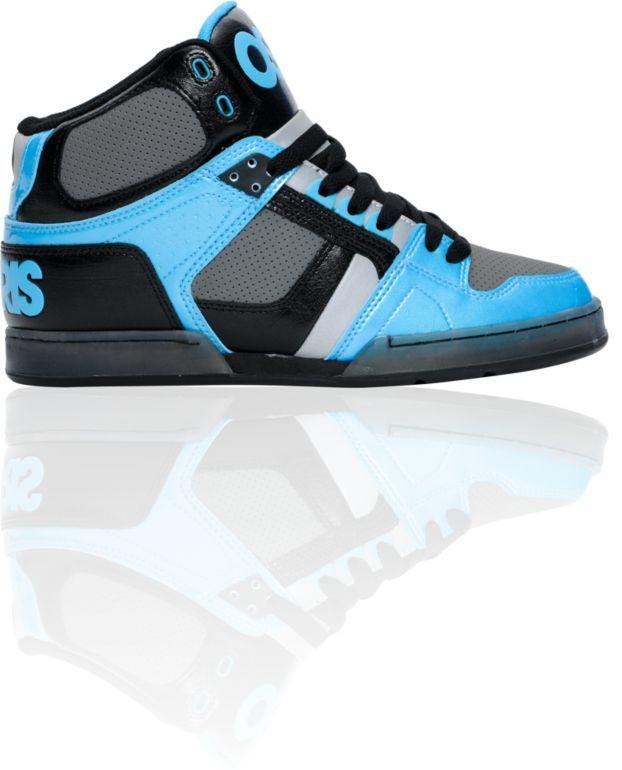 osiris shoes 83 black,cyan,and charcoal shoe.size 10
