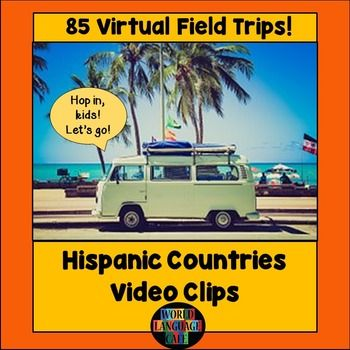 Hispanic Countries Video Clips for Spanish Speaking CountriesAdd some spice to your classroom by traveling the globe virtually with your students to learn about real Hispanic culture.  This is a collection of links to 85 video clips - great for teaching authentic culture and for Spanish listening practice (accents and people from all over the world).