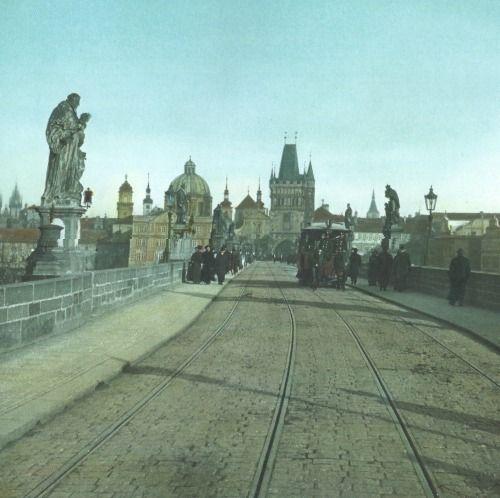 Charles Bridge in Prague around 1900, unknown author