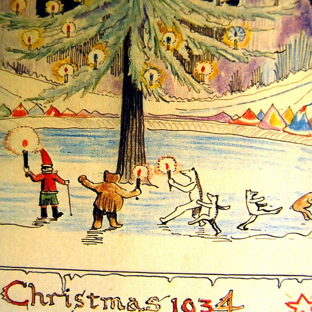Every December from 1920-1943, J.R.R. Tolkien's children  received a letter from Father Christmas, addressed to them  in spidery handwriting, bearing a stamp from the North Pole.  Tolkien, as Father Christmas, wrote the letters, which he  accompanied by humorous illustrations.  My pop gave me this book gave me this book when I was a kid, it's beautiful!