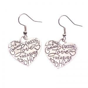 Heart with writing earrings