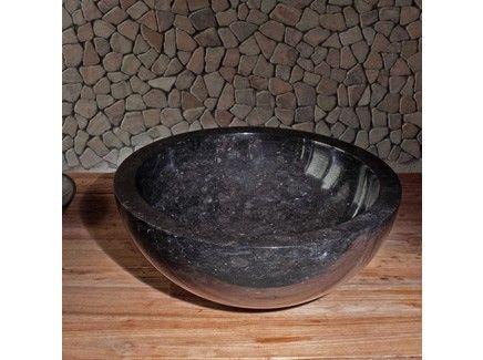 Черная круглая раковина из натурального камня