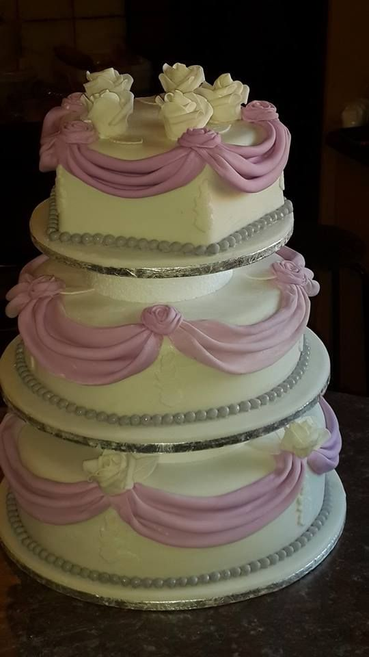 Pink and off white 3 tier wedding cake by Altefyn Cakes