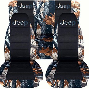 Jeep-Wrangler-TJ-1997-to-2006-Camo-and-Black-Seat-Covers-with-Jeep-Gray-Real-Tree-Full-Set-16-Prints-Available-0