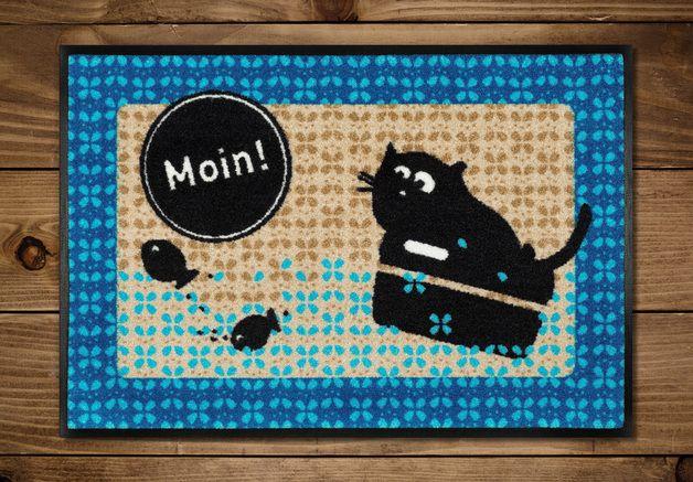 #Fußmatte #Moin mit #Katze Friedegunde