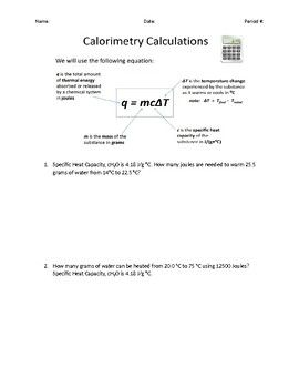 Calorimetry Thermal Energy Calculation Word Problems Debut Tpt