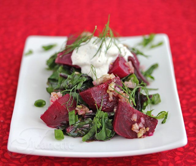 Warm Braised Beet Salad with Beet Greens and Yogurt Sauce: Beets Salad, Yogurt Sauces, Warm Braised, Yogurt Dresses, Beets Green, Braised Beets, Beet Salad, Dresses Recipes, Healthy Living