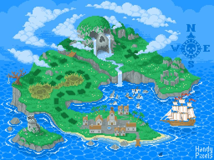 #handypixels #pixelart #pixels #retroart #skull #illustration #treasuremap #pirate #piratemap #treasureisland #map #oldmap