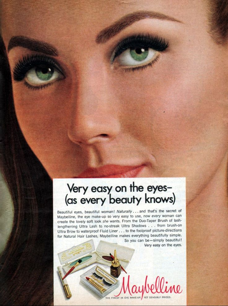 Maybelline 1968 Vintage makeup ads, Maybelline