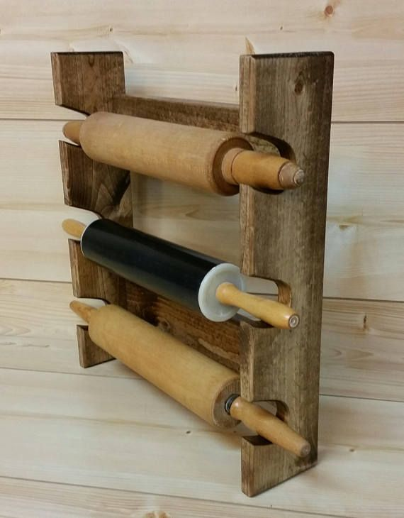Rolling Pin Rack With Three Slots Multiple Rolling Pin Rack Etsy Rolling Pin Holder Rolling Pin Display Rolling Pin
