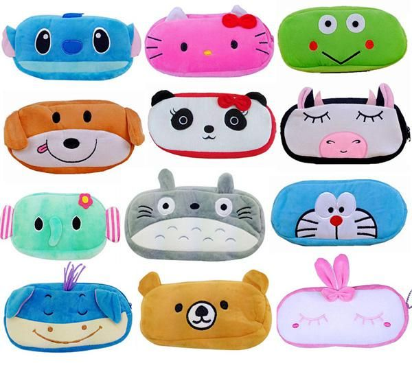 2015 new Minions pencil case domo kun plush pen bag for kids Stitch Mickey Totoro KT cat purse wallet cartoon multifunctional bags 201508HX