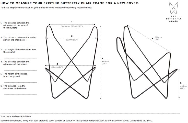 How to measure your butterfly chair frame for a replacement cover. www.TheButterflyChairFrame.com.au