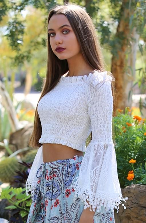 bb529ddbb03 Angie Shirred Bell Sleeve Crop Top - White in 2019