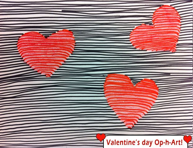 Valentine's Day Optical Illusions (op art) with grades 2 and 3