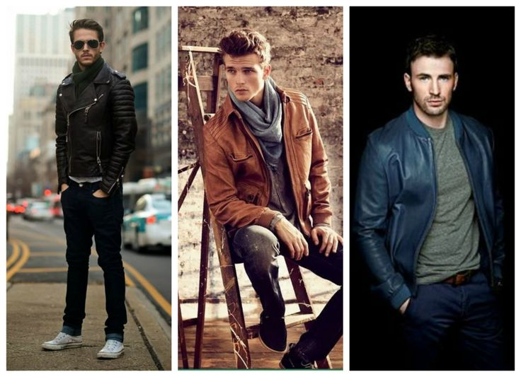 Men's fall, winter outfits - black, brown and blue leather jacket.