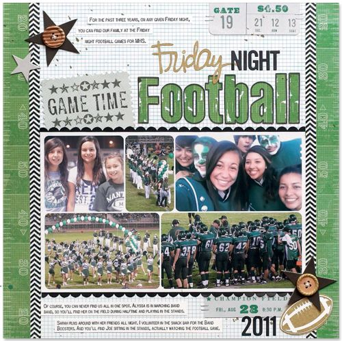 #papercraft #scrapbook #layout     Friday Night Football by Laura Vegas