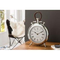 Horloge de table design 40 cm avec des chiffres romains coloris argent