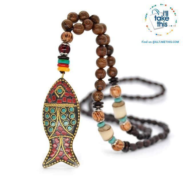 Vintage Boho Geometry Necklace Wood Pendant Handmade Bead Long Ethnic Style