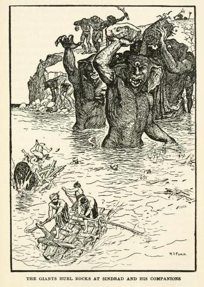 The Arabian nights entertainments (1929, c1898)  illustrations by Henry Justice Ford    The Giants hurl rocks at Sinbad and his companionsArabian Night, Artists Ford, Illustration Ford, H J Ford, Justice Ford, Henry Justice, Illustrations Ford