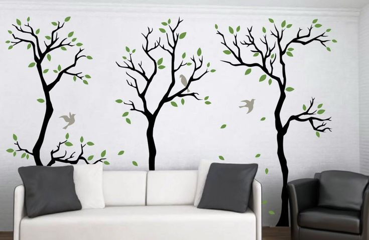 Furniture: Tree Wall Decal For Bedroom With Green Wall Accents Minimalist Bed Designs With Wheels And Green Pillows High Gloss White Laminate Flooring Over Grey Wool Area Rugs from Decorate the House with Wall Decals
