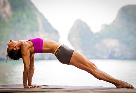 Yoga moves to build those abs up.