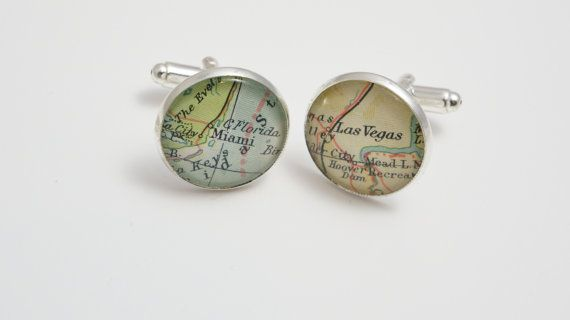 Map cufflinks custom vintage maps. Select two locations. Anywhere in the world.  Wedding. Groom. best man. groomsmen. personalized