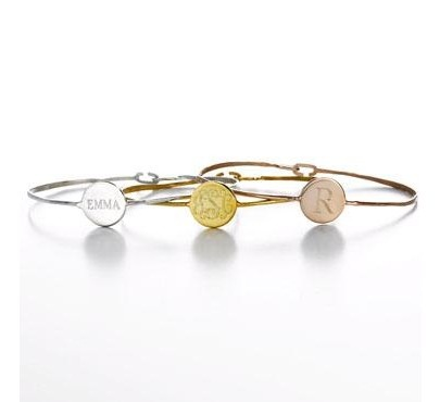 Options are endless at sarahchloe.com, but these are one of our favorites!: Ella Bangles, Sarah Chloe, Gifts Ideas, Personalized Bracelets, Chloe Bangles, Engraving Bangles, Bridesmaid Gifts, Monograms Bracelets, Rose Gold