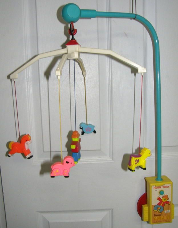 Vintage Fisher Price crib / baby bed mobile with farm animals and farmer, 1973.