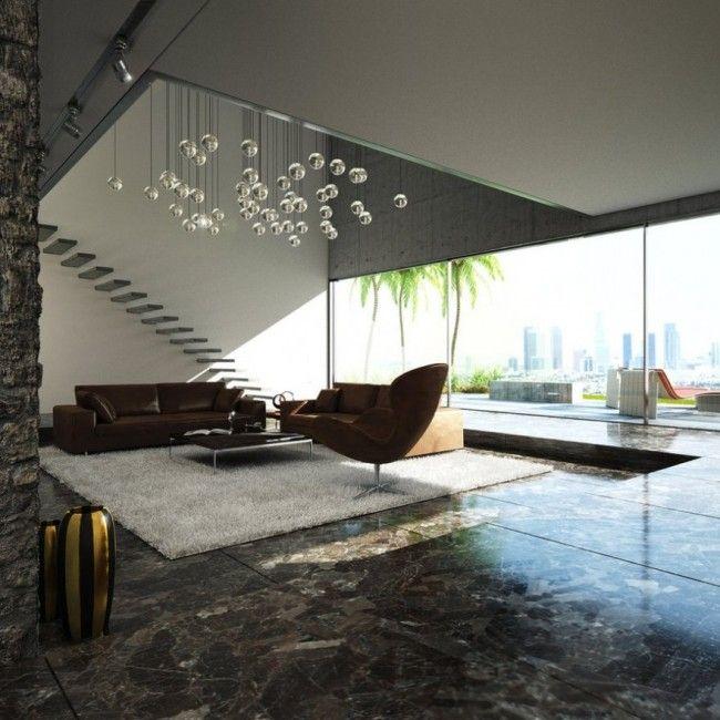 schwebende treppe moderne architektur kugelleuchten marmorboden