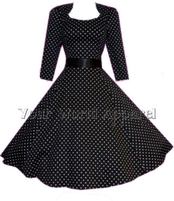 H&R LONDON BLACK POLKA DOT PINUP SWING 1950's HOUSEWIFE DRESS VINTAGE ROCKABILLY #HandRLondonHeartsandRoses #TeaDress #Casual