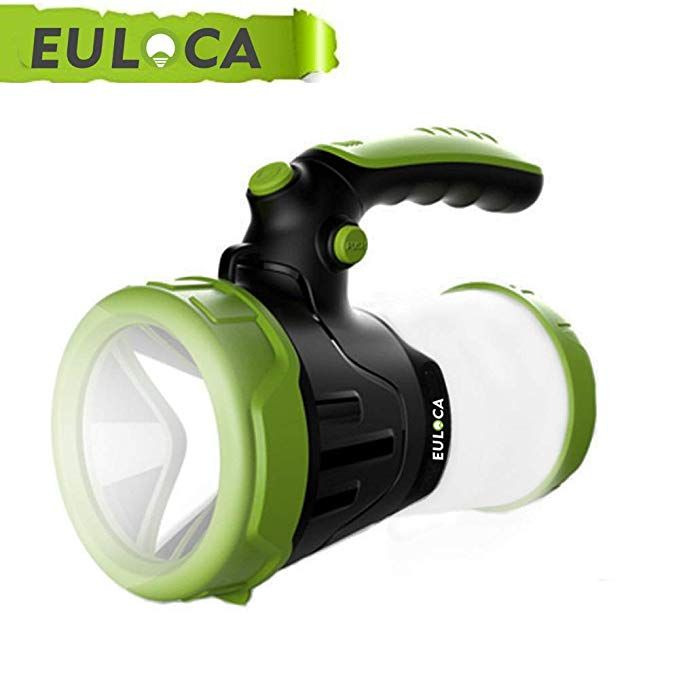 Euloca Rechargeable Cree Led Spotlight Multi Function Outdoor Camping Lantern Flashlight Power Bank Waterproof Led Searchlight With Usb Cable For Hiking Fis Lantern Flashlight Waterproof Led Led Spotlight