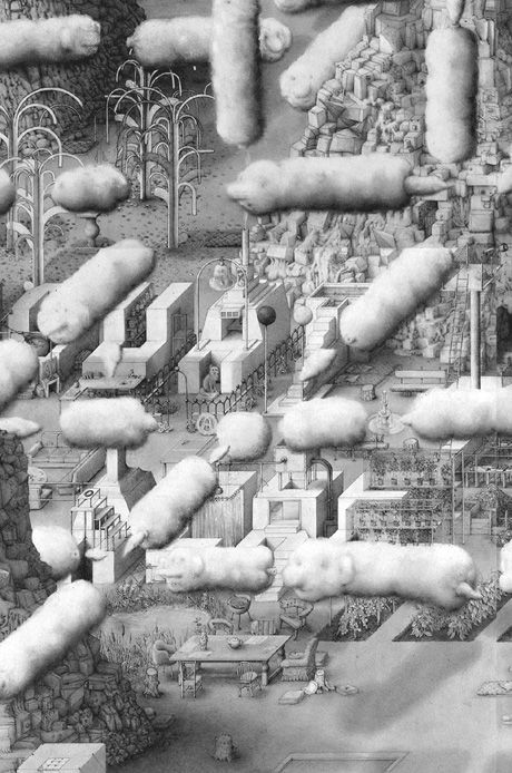 Paul Noble - totally transfixed by his pencil on paper graphic drawings. Want to enter his fictional landscapes and wander around for a while