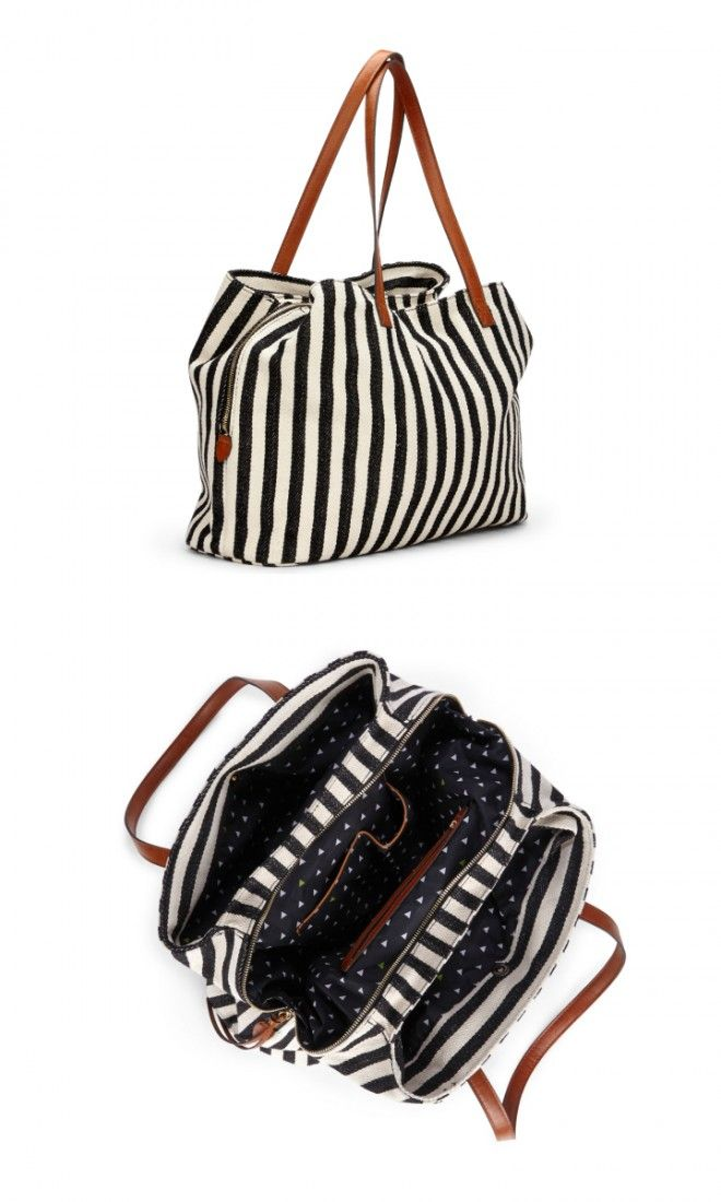 Oversized woven tote bag in black & white stripe with shoulder straps, zipper closure and three inside sections