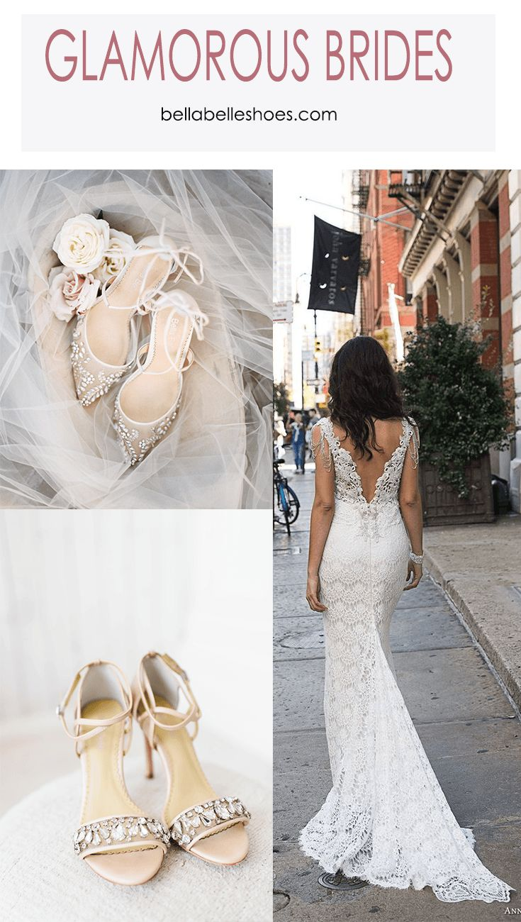This is for the Glamorous brides! Channel your inner Sofia Vergara with Anna Cambell's Fall 2018 bridal with a sexy V neck sleeveless and open back cut. Full embellishments with a mermaid fit and flare sheath, this wedding dress is perfect paired with Bella Belle glamorous wedding shoes, Florence and Filipa. Nude, white, sparkling with delicate crystals and rhinestones, it's beautiful to look at and comfortable with the ankle strap and bow tie strap.  Photography: Grey Door & Jeremy Chou