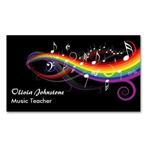 Rainbow White Music Notes Business Cards