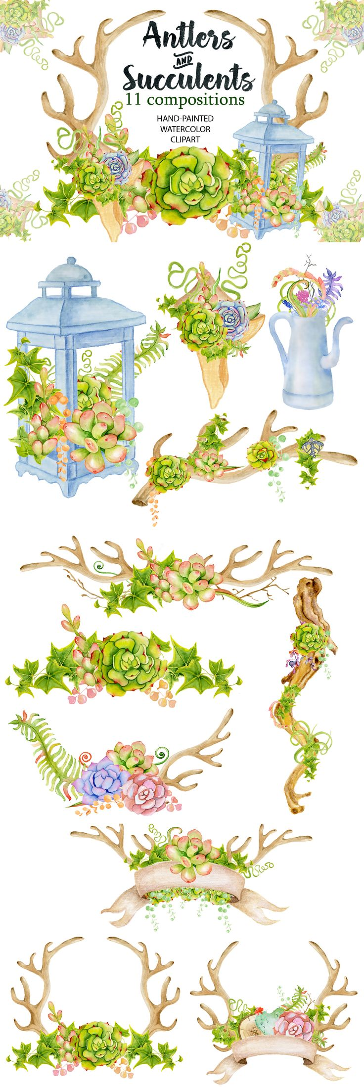 Antlers clip art, succulents clip art, watercolor clip art, watercolor antlers, floral antlers, floral clip art, digital, wedding bouquet