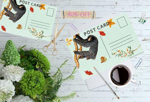 80% Off Sloth Post Card DigitalSnail Mailillustration